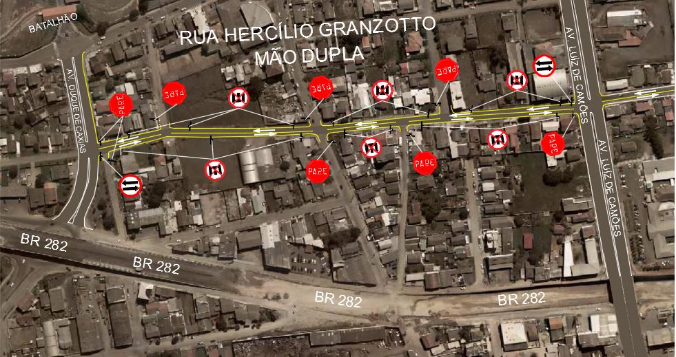 ATENÇÃO Mudança no Trânsito - Rua Hercílio Granzotto